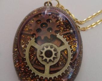 Steampunk Resin Gear Necklace