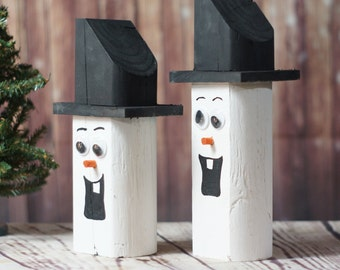 Wooden Snowman - Christmas Mantle Decorations - Rustic Christmas Decor - Christmas Decoration - Primitive Snowman - Primitive Christmas
