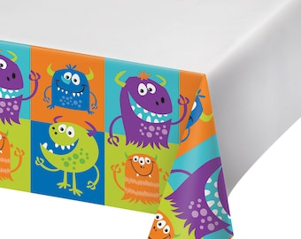Monster Birthday Party Tablecover/ Monster Party Tablecover/ Monster Party/ Monster Tablecover