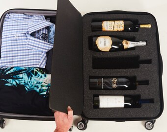 LIQUAGE 5-PK.  Travel safe suitcase foam for your wine or spirits.  Luggage for your liquid.