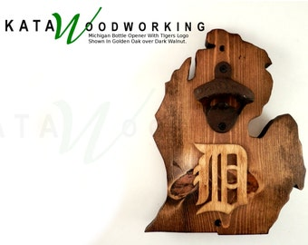 "Michigan Wall-Mount Bottle Opener with Old English ""D"" - Handmade"