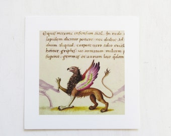 Medieval Griffin Print by Pietro Candido Decembrio Medieval Bestiary  Vatican Library Collection Art Iris Print 8 x 8 New Old Stock