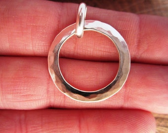 Artisan Hammered Pure Sterling Silver Circle Pendant