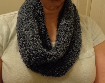 Blue boucle hand knit cowl