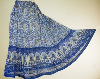 1970s Handblocked Indian Cotton Gauze Skirt