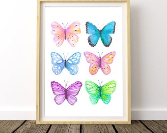 Butterfly Print, Butterfly Art Print, Butterfly Wall Art, Butterfly Watercolor, Butterfly Painting, Butterfly Poster, Blue Butterfly