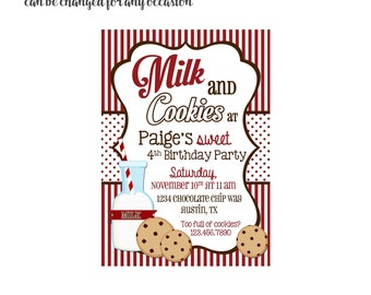 Milk and Cookies Invitation 4x6 or 5x7 digital you print your own- Design 102