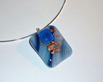 """Abu Simbel"" fused glass necklace"