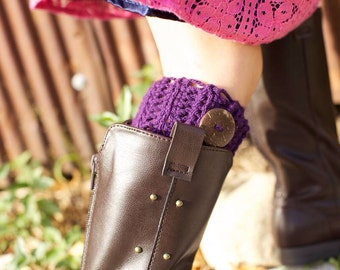 Girls Boot Cuffs With Buttons Or Bows, Girl's Boot Cuffs, Kids Boot Toppers - ANY COLOR