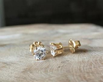 CZ Stud Earrings in Gold or Silver