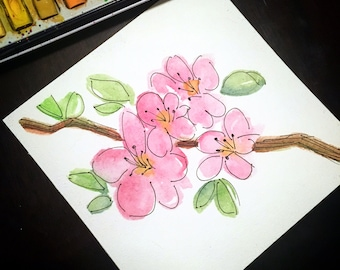 Hand painted watercolor cherry blossom // branch // floral
