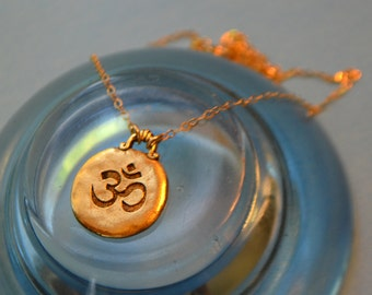 Gold Om Pendant Necklace - Yoga Necklace