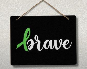 Brave cancer awareness ribbon vinyl chalkboard sign