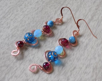 Copper Zig-Zag Earrings with Blues and Garnets