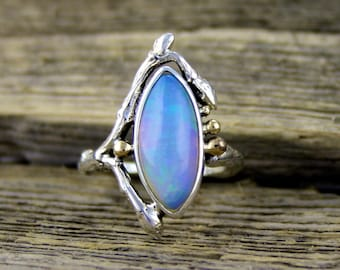Ethiopian opal ring, woodland ring, jelly opal, fire opal ring, welo opal, ethiopian opal, opal engagement, rustic ring, branch band, twig
