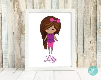 Personalized Gifts for Kids, Girls Playroom Decor for Girls Bedroom, Wall Art Print for Girls Room, Custom Cartoon Portrait Illustration