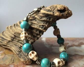 Turquoise And Howlite Skull Bracelet