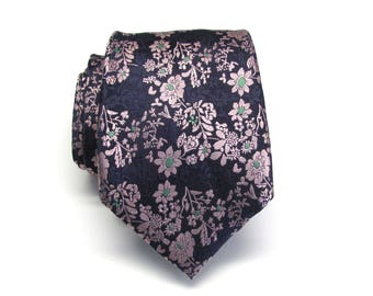 Mens Ties Navy Blue Pink Green Floral Mens Neckties. Silk Tie with Matching Pocket Square Option