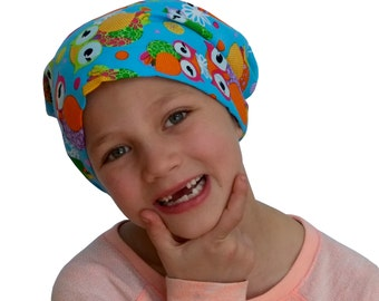 Mia Children's Head Cover, Girl's Cancer Headwear, Chemo Scarf, Alopecia Hat, Head Wrap, Cancer Gift for Hair Loss - Owls