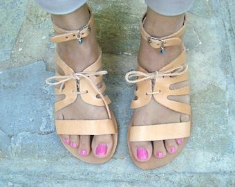 Greek sandals, Leather sandals, Greek leather sandals, Natural sandals, Summer flats, Womens sandals, Brown sandals, Klitemnistra