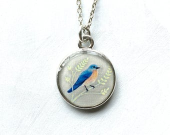 Silver Bluebird Necklace, Bluebird of Happiness, Original Resin Art Jewelry, Bird Necklace, Blue Bird