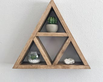 Rustic modern geometric 5 triangle shelf stand, home wall decor accessory holder succulent holder, keys, wallet holder