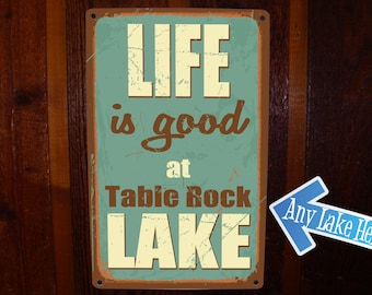 Lake House Sign. Custom, Vintage Lake Sign on Tin. Lake Cabin Sign