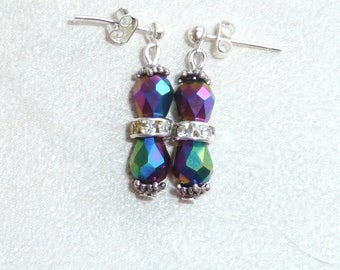 """""""Multicolor faceted"""" earrings in silver"""