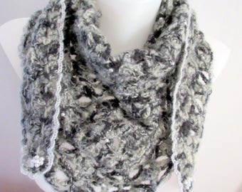 Scarf / Heather grey crochet lace encrusted with small beads