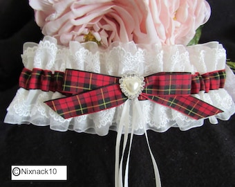 WEDDING GARTER , ivory, WALLACE tartan, heart