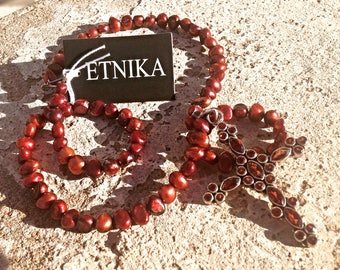 Handmade Red Cultured Pearl Sterling Silver Red Garnet Cross Artisan  Necklace Jewelry