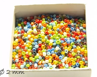 50 g opaque seed beads mix 2 mm #3 beads