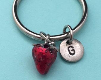 Strawberry keychain, strawberry charm, food keychain, personalized keychain, initial keychain, customized keychain, monogram