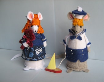Sailorboy and Girl, Felt Mice Pair Marcelle & Madeleine