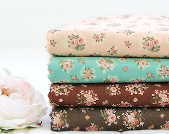 Cotton Fabric Flowers - Peach, Mint, Brown or Dark Brown - By the Yard 40377