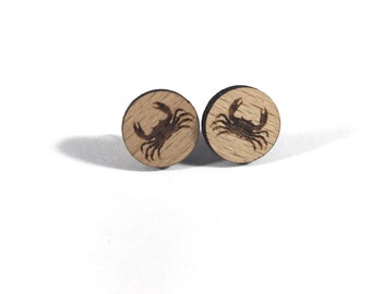 Crab Earrings, Animal Earrings Studs, Wood Earrings Studs, Maryland Earrings, Cute Stud Earrings, Summer Earrings Studs, For Sensitive Ears