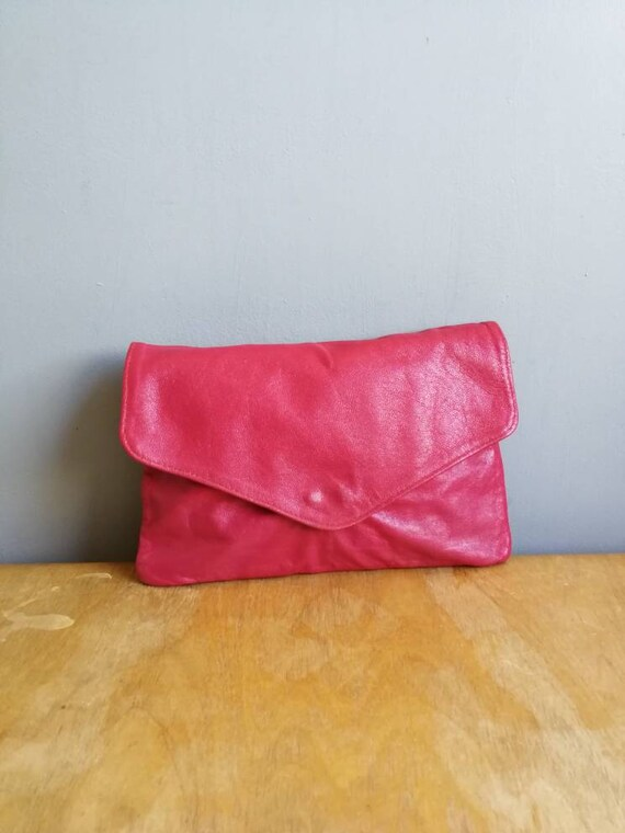 Pink leather clutch purse / soft real leather clutch / bright pink leather clutch bag / supple pink leather bag / pink 80s evening bag /
