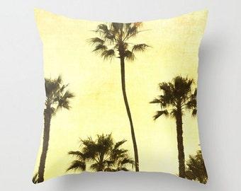 Throw Pillow Cover, California Dreaming, Palm Tree Cushion Cover, Sunset, Green Tones, Yellow, Beach Cottage Chic, Rustic Home Decor