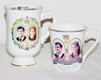 Prince Andrew Sarah Ferguson 1986 Royal Wedding mugs Coalport and British Made