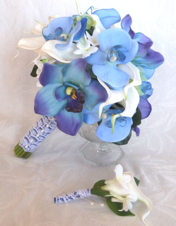 Blue orchid white calla lily bridal bouquet and boutonniere