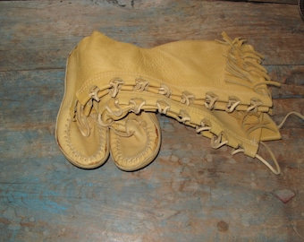 Deerskin Yellow Leather Moccasin Knee High Boots Ladies Size US 7