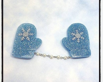 Snowflake Mittens Brooch or Sweater Clips