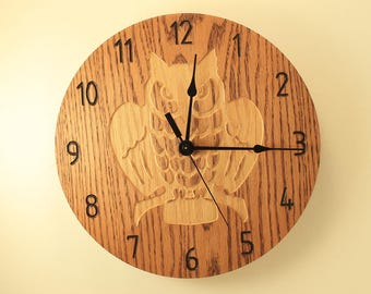 Oak Owl Clock Wood Clock Wall Clock Wooden Wall Clock Animal Clock Wildlife  Clock Nature Clock Awesome Design