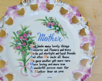 Vintage Mother Plate Wall Hanging with Beautiful Poem and Flowers by A Quality Product Japan