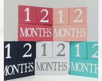 Child Baby Age Blocks Handmade Photo Prop Monthly  Colors Unique Baby Shower Nursery Room Decor
