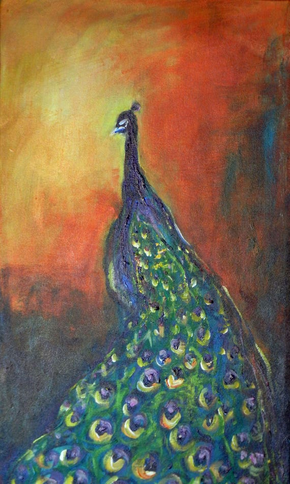 PEACOCK Painting ORIGINAL Large Turquoise Golden Yellow Fine Art Oil Painting 24x14 by BenWill
