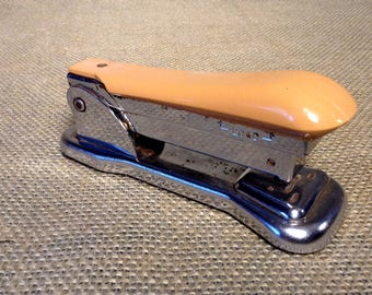 Vintage Ace Cadet Stapler in Tan Color - Retro Office - Desk Accessory - Working