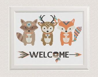Baby Cross Stitch pattern animals fox deer raccoon, modern cross stitch, Welcome cross stitch Feather nursery cross stitch home decor room