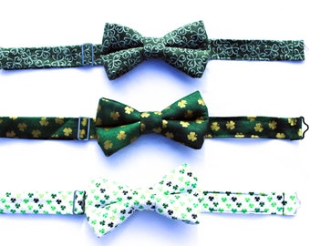 Saint Patricks Day Bow Tie, Green Bow Tie, Green and Gold boy tie, Clover Boys Bow Tie,Holiday Bow Tie,Green Shamrock Bow Tie, White bow tie