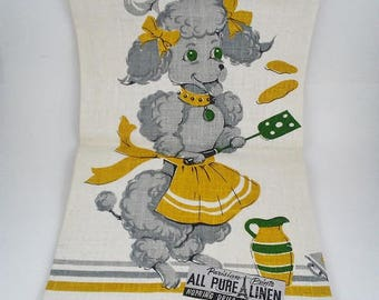 Poodle Linen Dish Towel Tea Towel Linen Unused